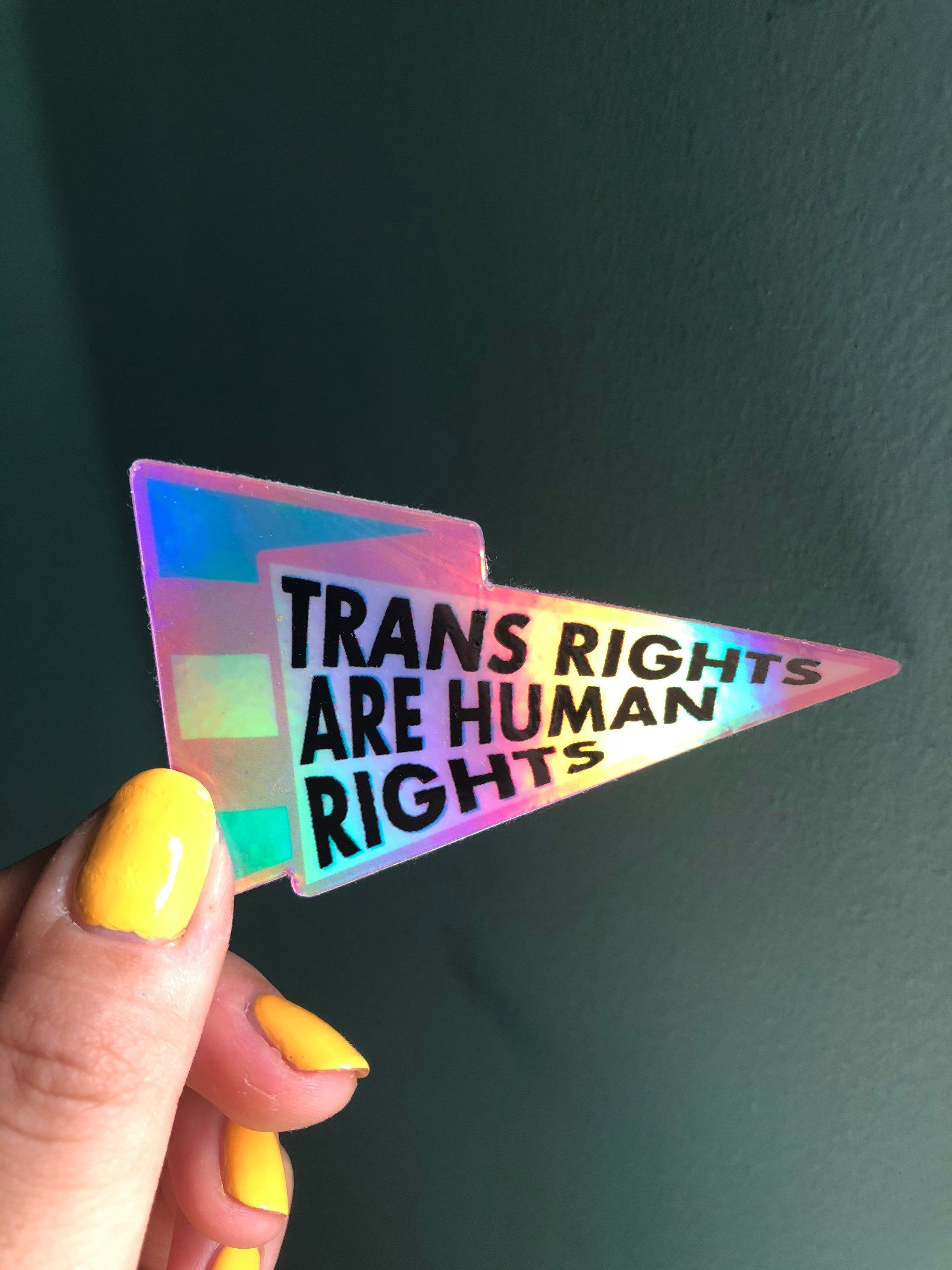 Trans Rights Are Human Rights Sticker Holographic Etsy Trans Rights Trans Flag Trans