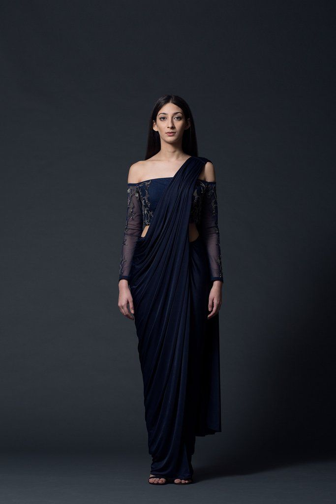 94d5dd611e63fc Midnight Off-Shoulder Concept Sari