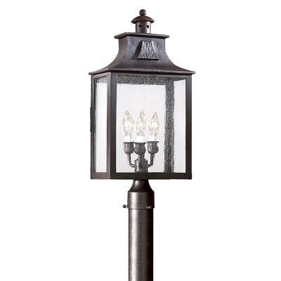 Troy Lighting Newton 3 Light Old Bronze Outdoor Post Lantern Outdoor Post Lights Troy Lighting Lantern Post