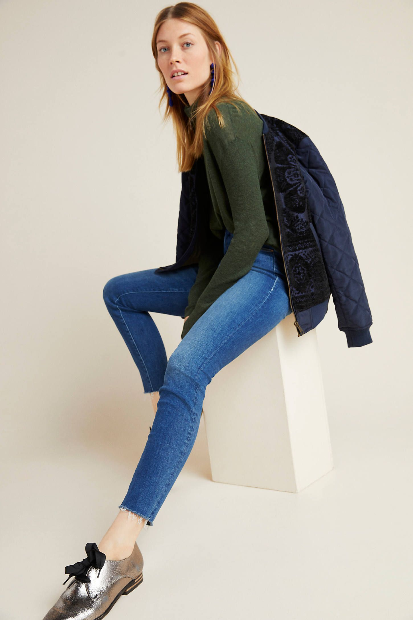 MOTHER The Looker Mid-Rise Skinny Jeans by in Blue Size: 26, Women's Denim at Anthropologie 1