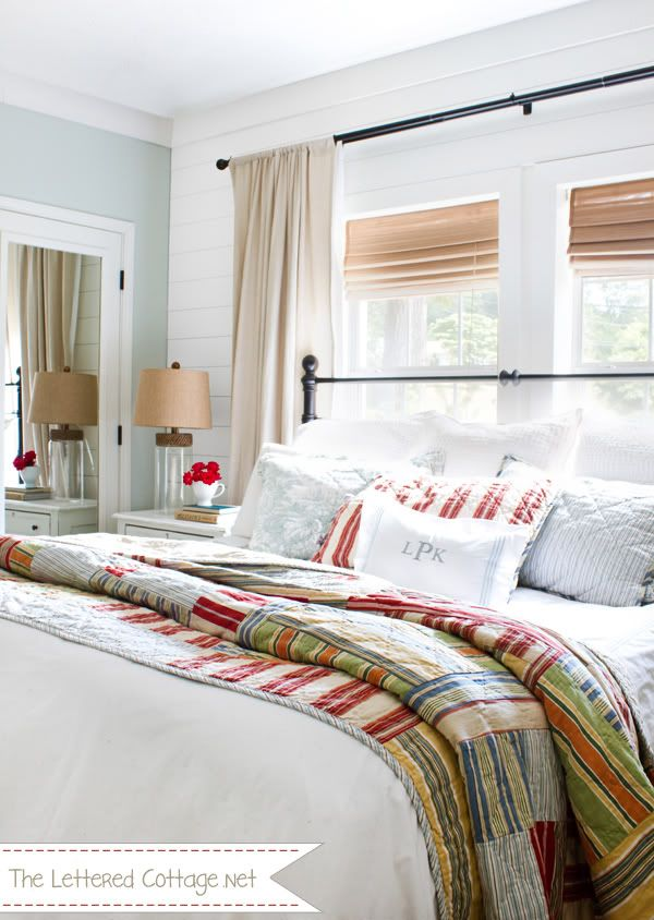 Beautiful Master Bedroom Over At The Lettered Cottage. So Much To Love, But  My Favorite Is The Quilt   Great Punch Of Color