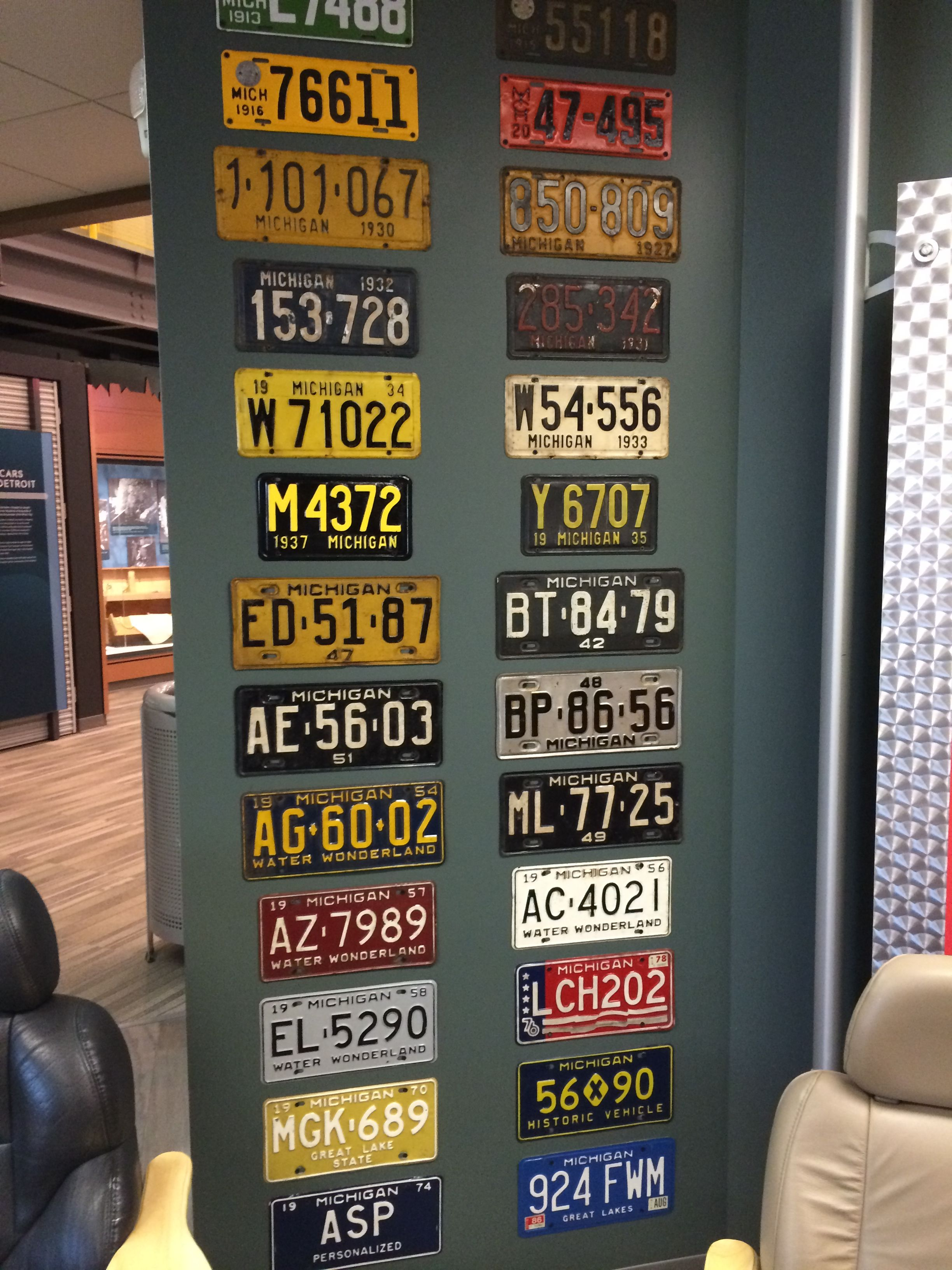 Michigan license plates display at the Detroit Historical Museum ...