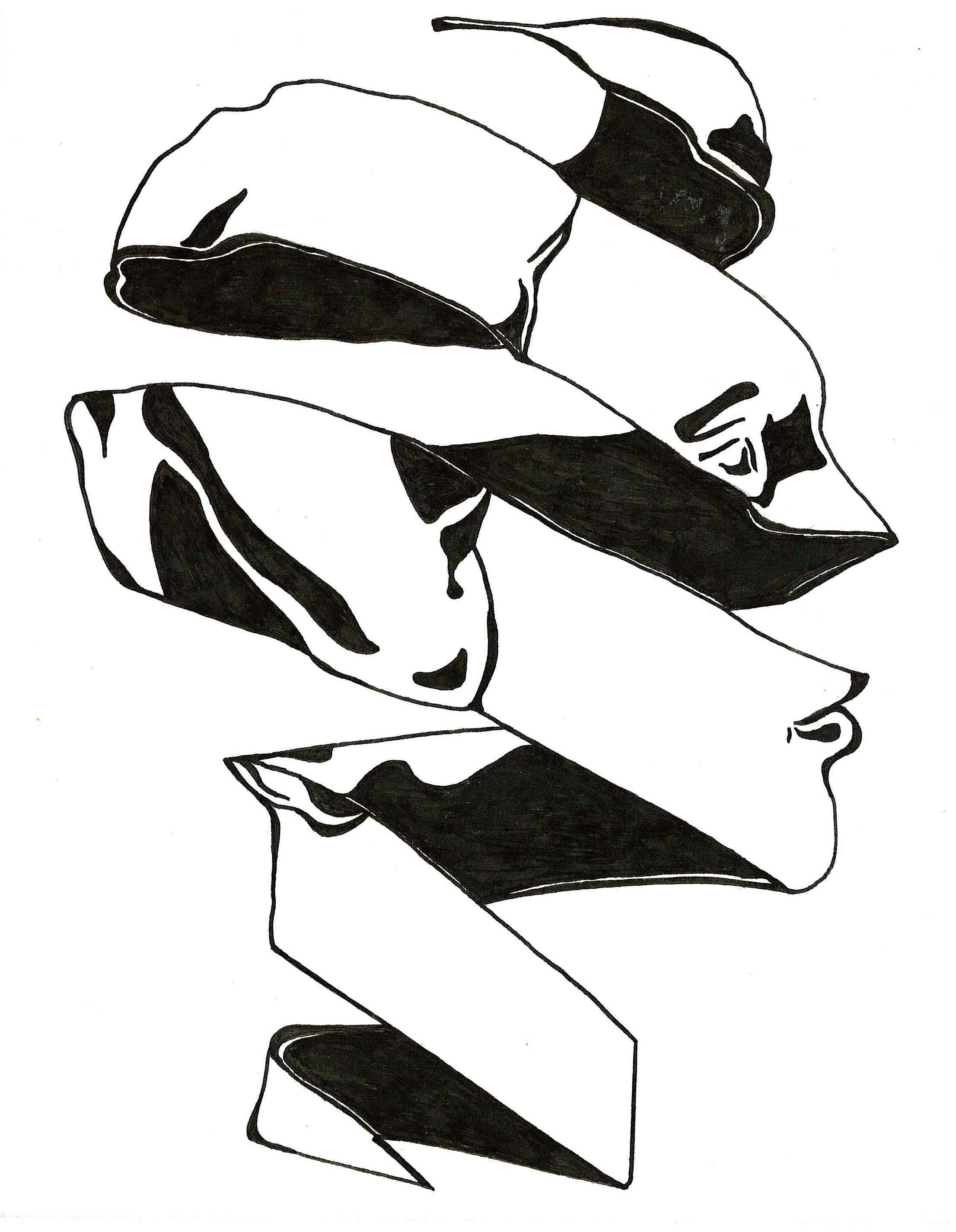 Spiral head b art sketch ink black white