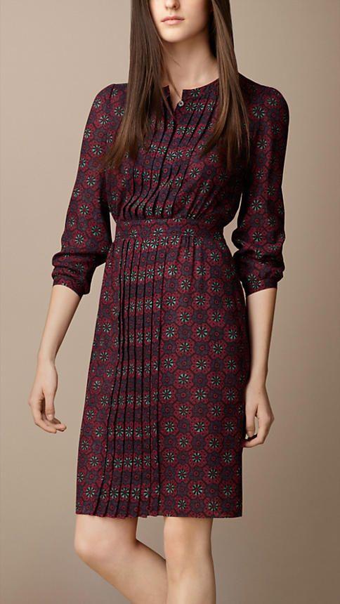 Burberry Brit Pleat Detail Floral Print Dress