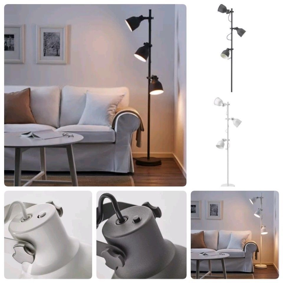 New Ikea Hektar Floor Lamp With 3 Spots White Height 176 Cm Home Office Ikea Wall Lights Home Decor Ikea Wall