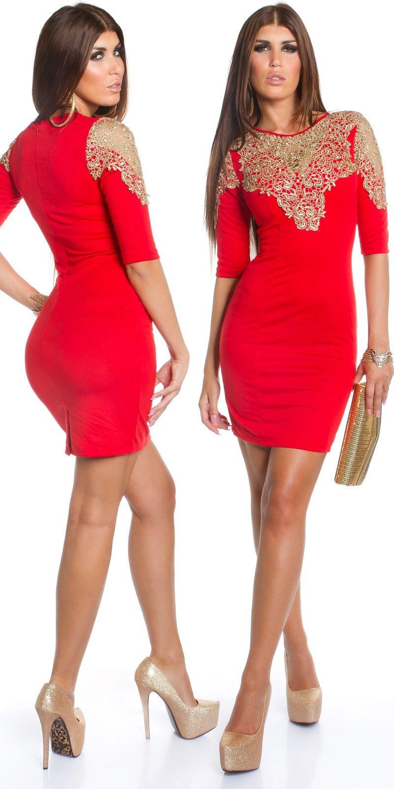 Golden Lace Detail Mini Dress by Koucla   Ladies Formal Short Dresses Online  