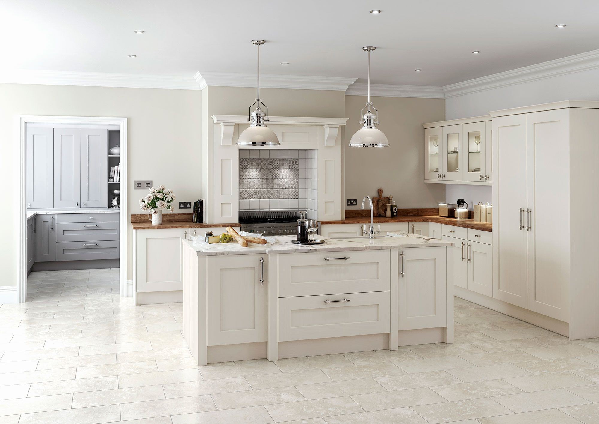 English white kitchen island and units -  visit Alex Lee Kitchens, on Hillmorton Road in Rugby.