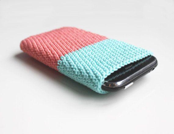 Iphone 5 4 Case Mint Peach Coral Crochet Iphone 3gs Case