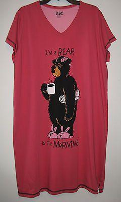 85be7271a6 Bear Nightshirt Funny Sleepshirts Nightgown Womens Sz L XL Lazy One  Sleepwear