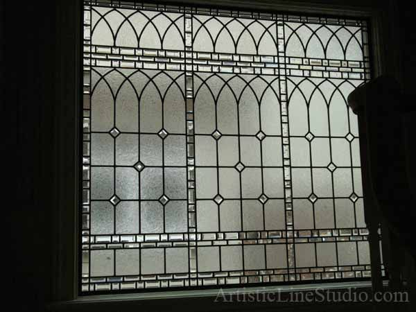 Classic traditional stained, beveled and leaded glass for stair ...