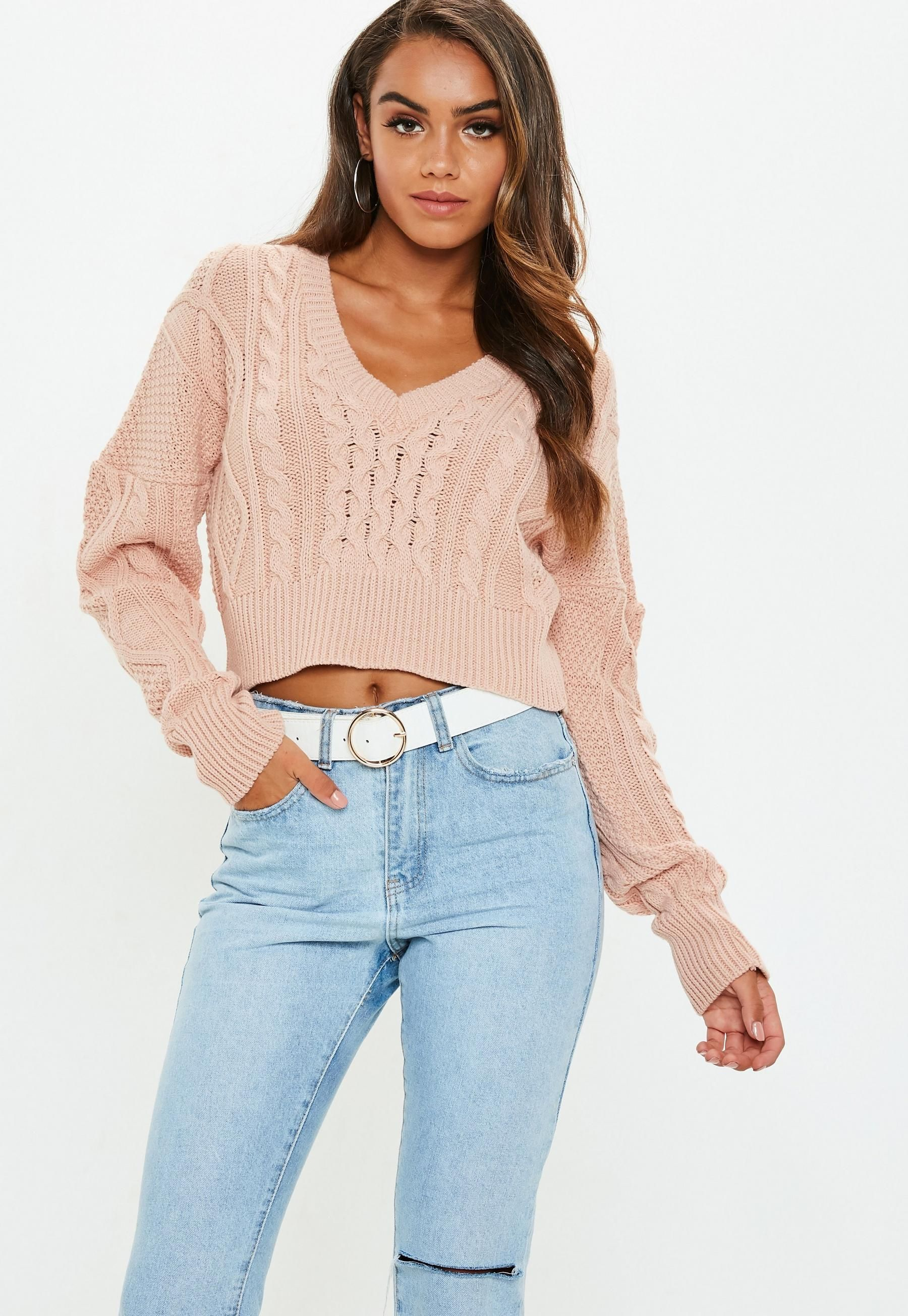 WOMENS LADIES STRETCH HIGH POLO NECK CABLE KNIT CROPPED JUMPER KNITTED CROP TOP