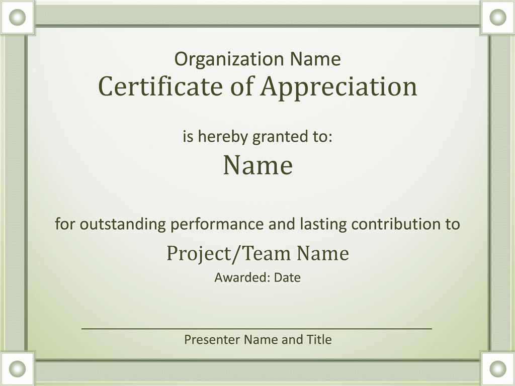 Acknowledge Outstanding Performance Certificate Of Appreciation ...