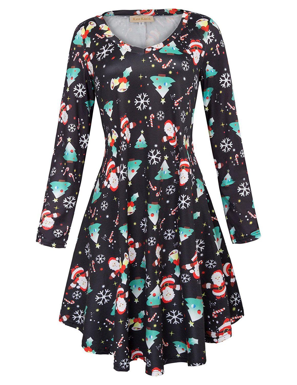 Kate Kasin Women\'s T-Shirt Dress Long Sleeve Casual Loose Fit Flowy ...