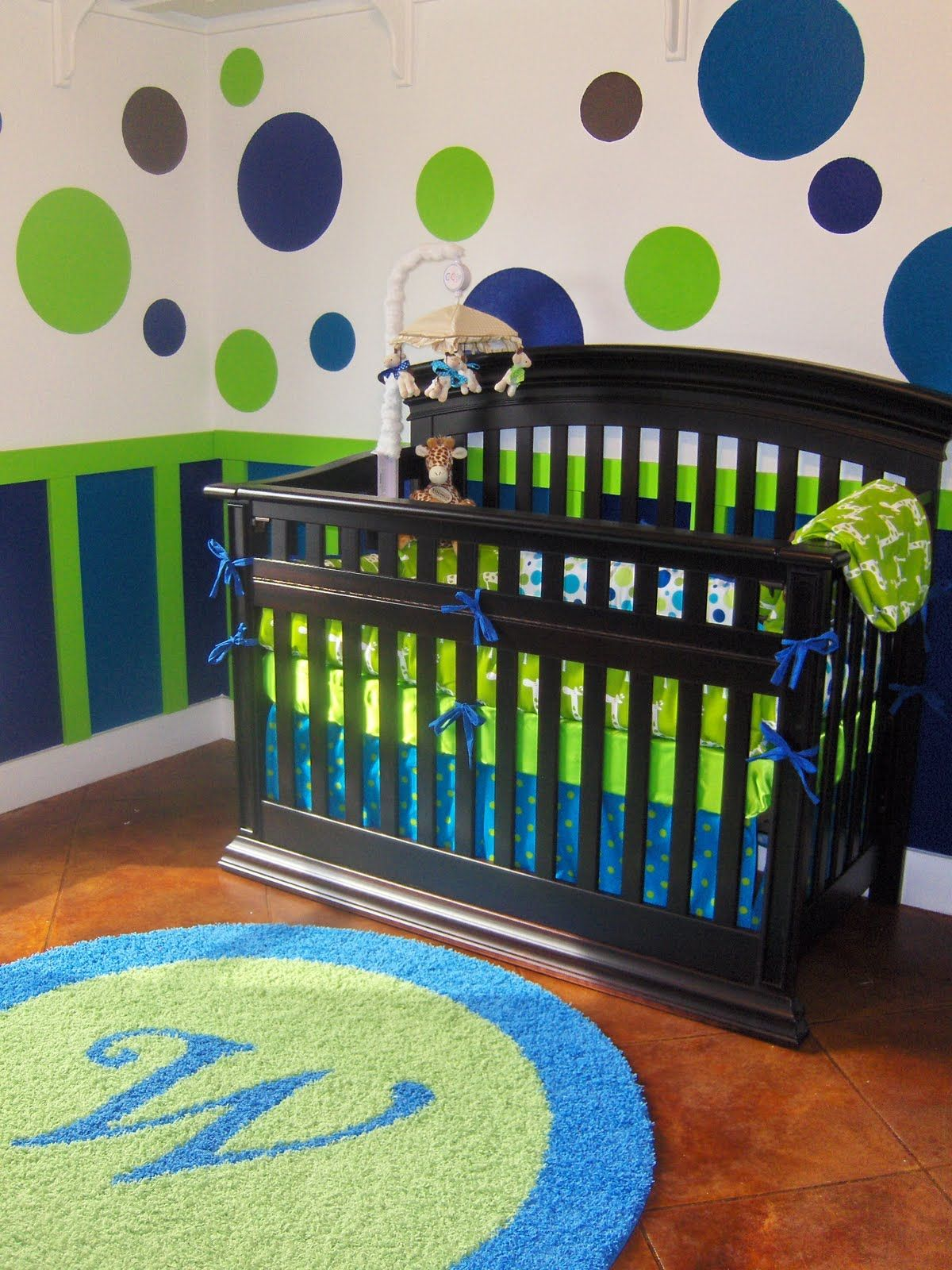 Baby Boy S Room But Maybe Just A Solid Color On The Bottom Half Of Walls Green Nursery Boy Baby Nursery Rugs Nursery Room Boy