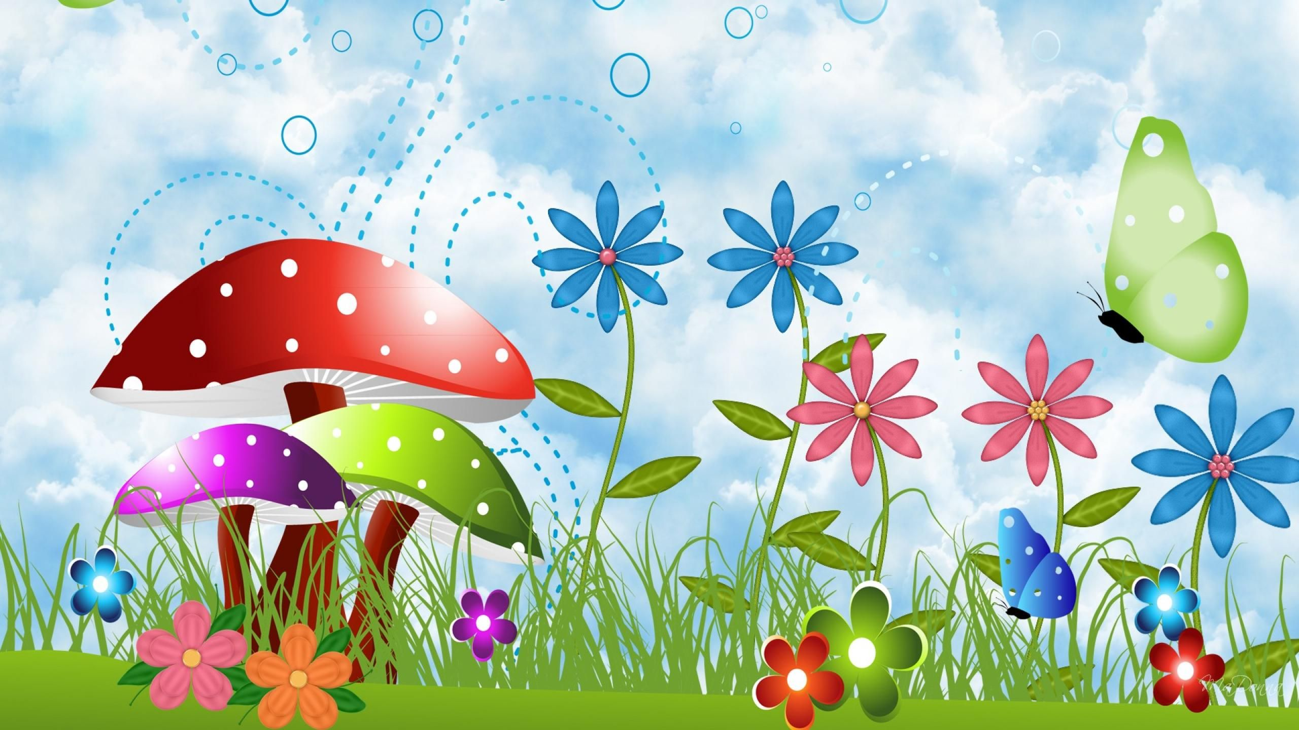 Spring Flowers And Butterflies Hd Background Wallpaper 16 Hd