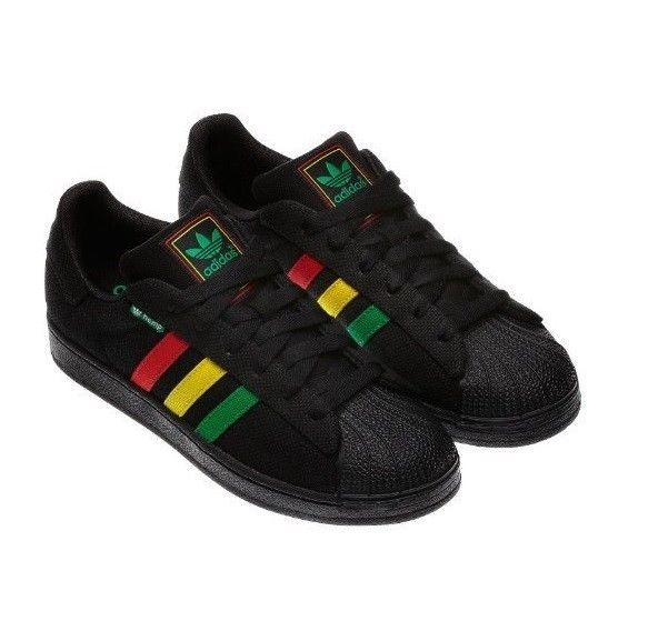 huge discount e7754 f99c4 ADIDAS SUPERSTAR HEMP SHOES Black RASTA Mens 7 Womens 8 Shell Toe Sneakers  G6553 adidas Sneakers