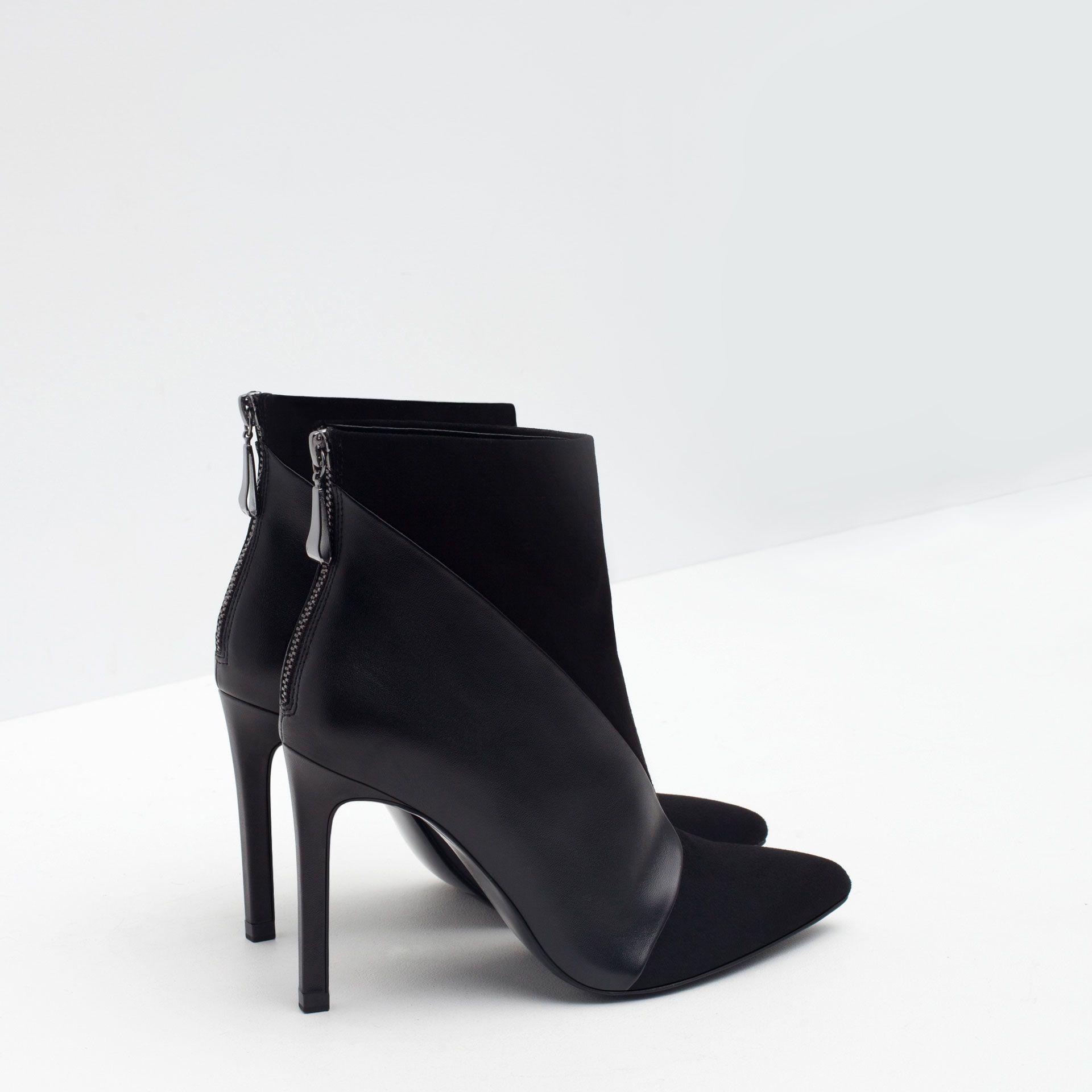 bottines talon en cuir chaussures et sacs femme nouveaut s zara france ma chaussure. Black Bedroom Furniture Sets. Home Design Ideas