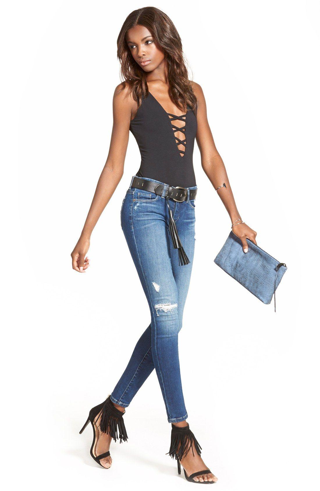 BLANKNYC'Hotel' Distressed Skinny Jeans (Blue)