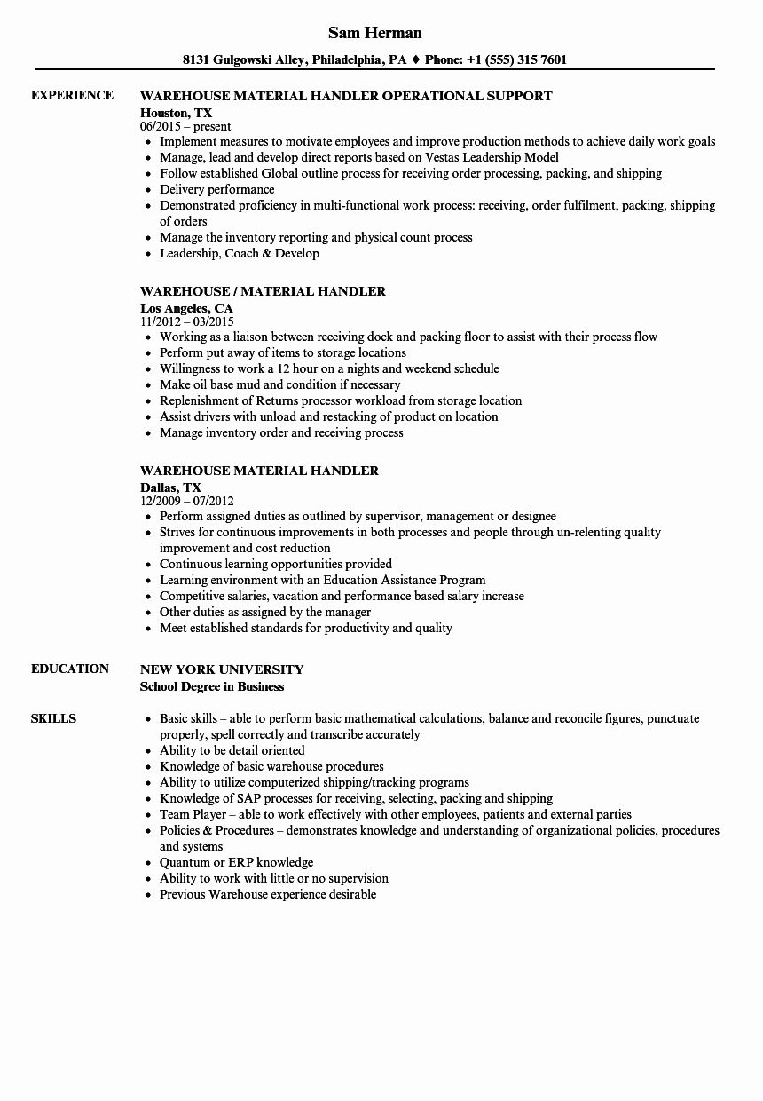 20 Entry Level Warehouse Resume How To Motivate