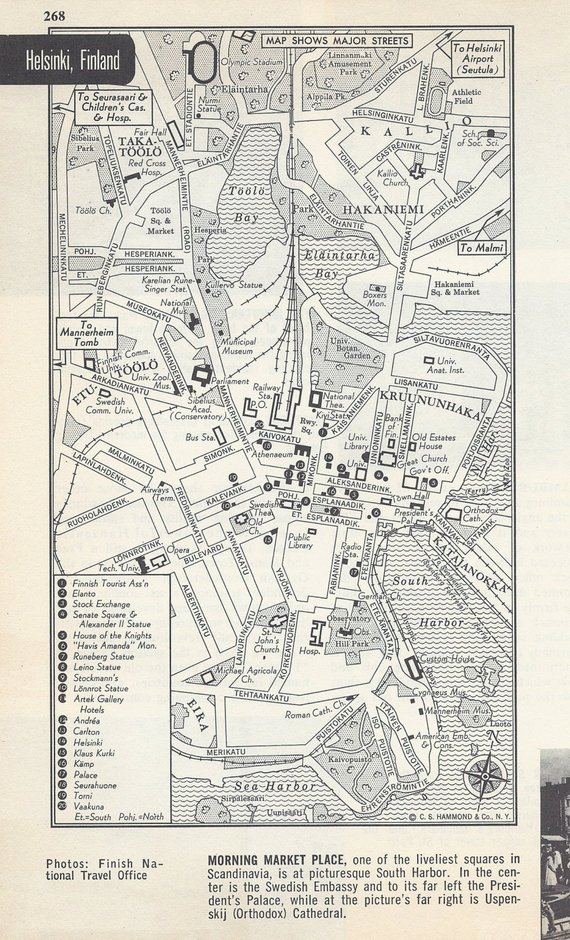 Map Of Europe 1950s.Helsinki Finland Map City Map Street Map 1950s Europe