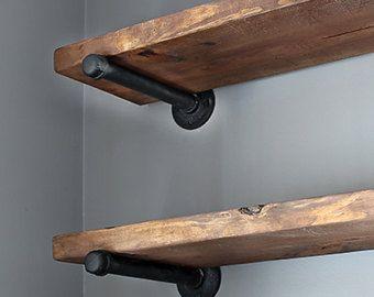 Photo of Set of 3 – 9.25″ deep Industrial Floating CORNER Shelves with pipe brackets. 24″ & 36″ Long Farmhouse Rustic Kitchen Shelf, Wood Wall shelf