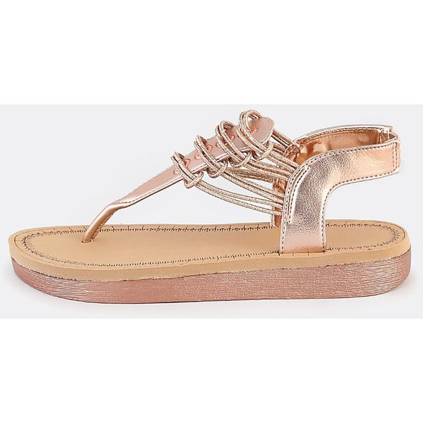 cfd07138398 SheIn(sheinside) Strappy Glitter Thong Sandals ROSE GOLD ( 22) ❤ liked on