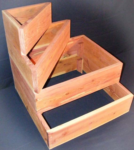 Stackable cedar raised planter elevated tiered for Stackable bed plans