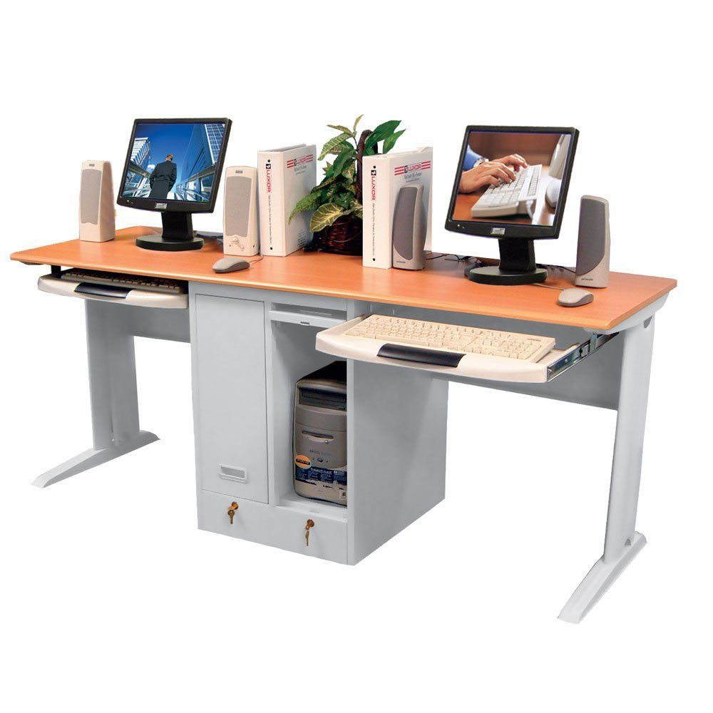 children u0027s computer desk for two with locking cpu shelves and