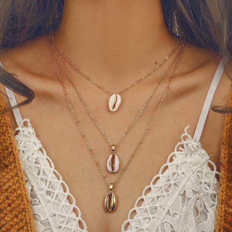 Summer Beach Jewelry Multilayer Shell Necklace Bohemian Cowry Seashell Pendant