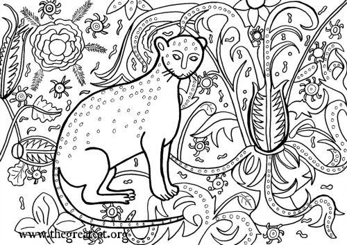 Cat 1407 cat coloring book adult coloring book medieval cats coloring book