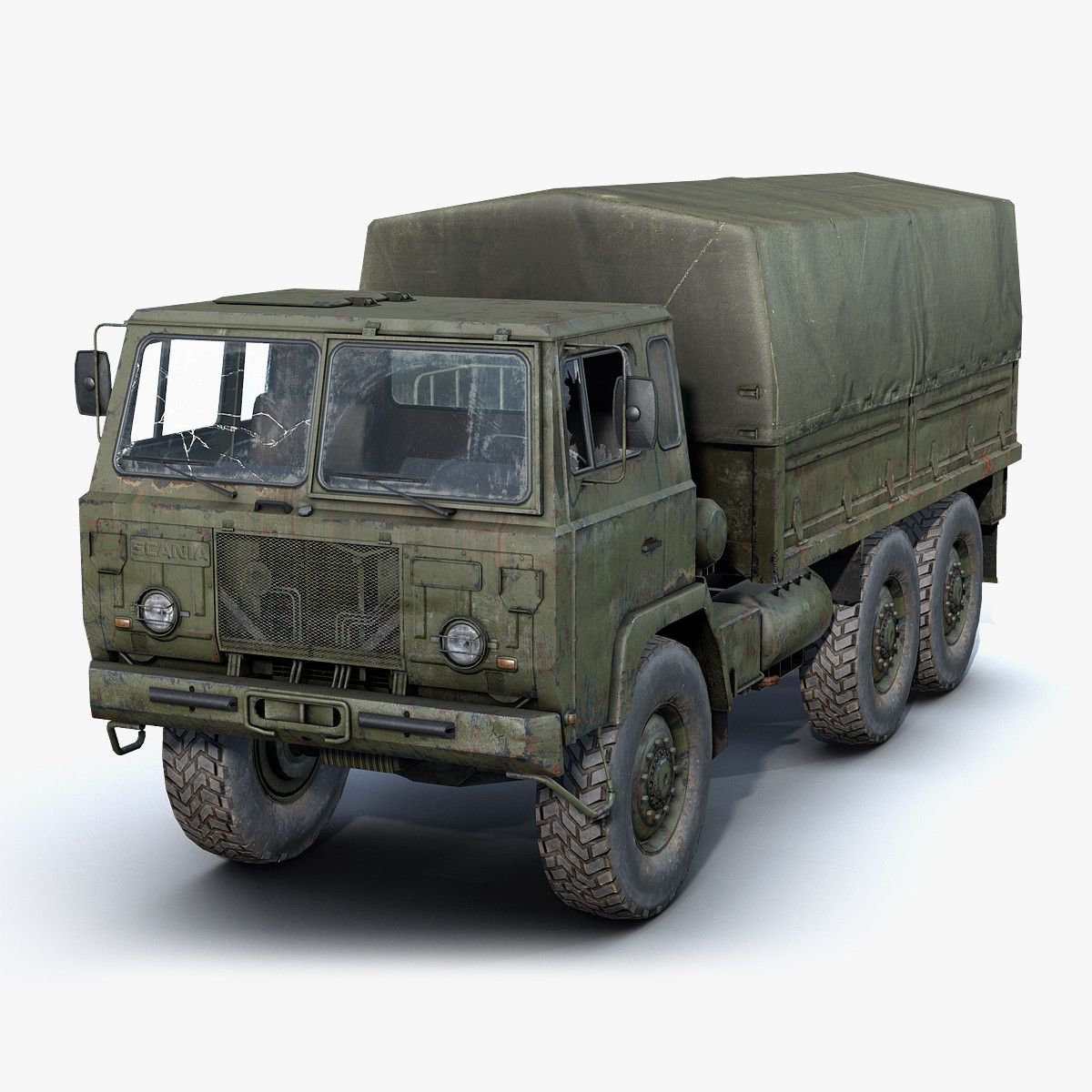 Game lowpoly 3dmodel of rusty army truck SaabScania SBA