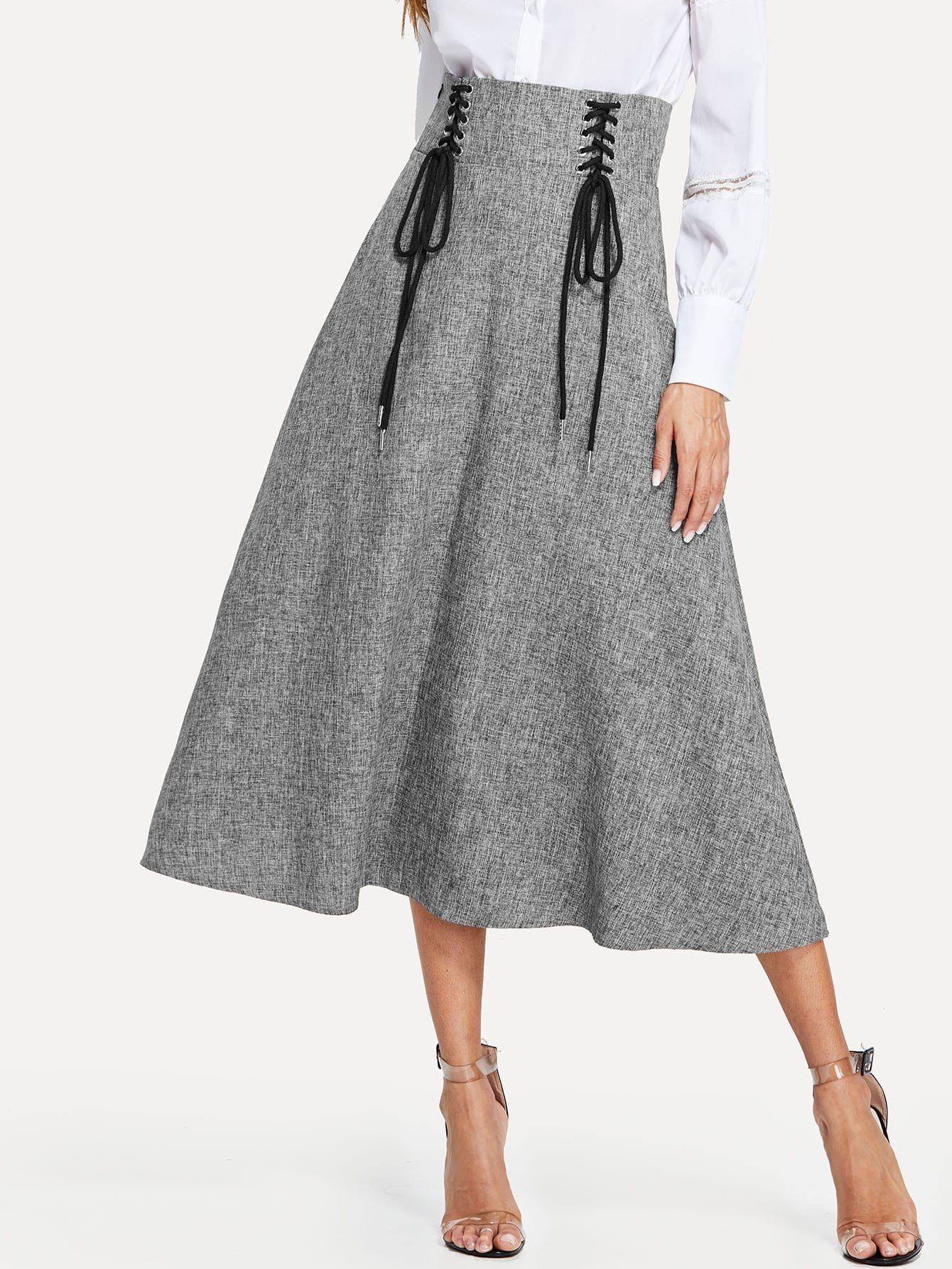 d4e84ca34 Women Elegant A Line Plain Shift High Waist Grey Long/Full Length Grommet  Lace-