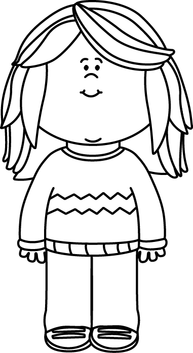 Black and White Girl Wearing a Sweater Clip Art - Black and White ...