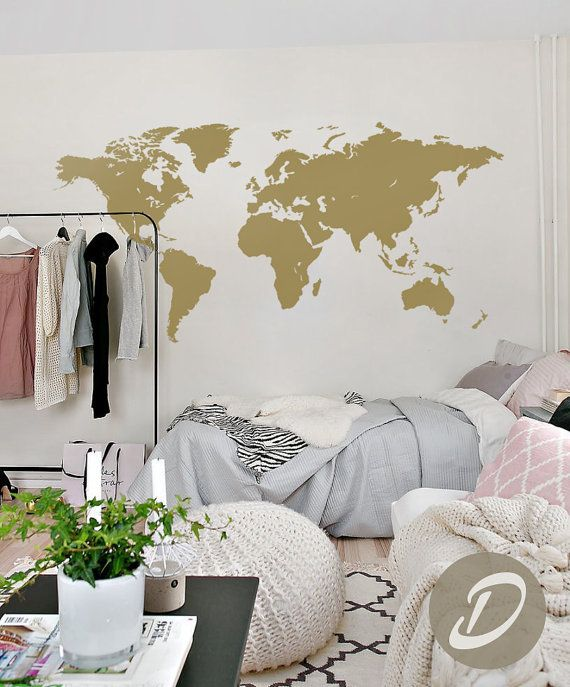 World map wall decal Vinyl Single color self adhesive peel and stick - fresh world map outline decal