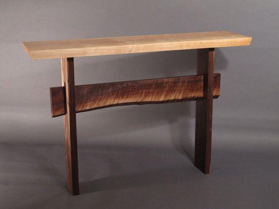 Console Table W Live Edge Stretcher Minimalist Modern