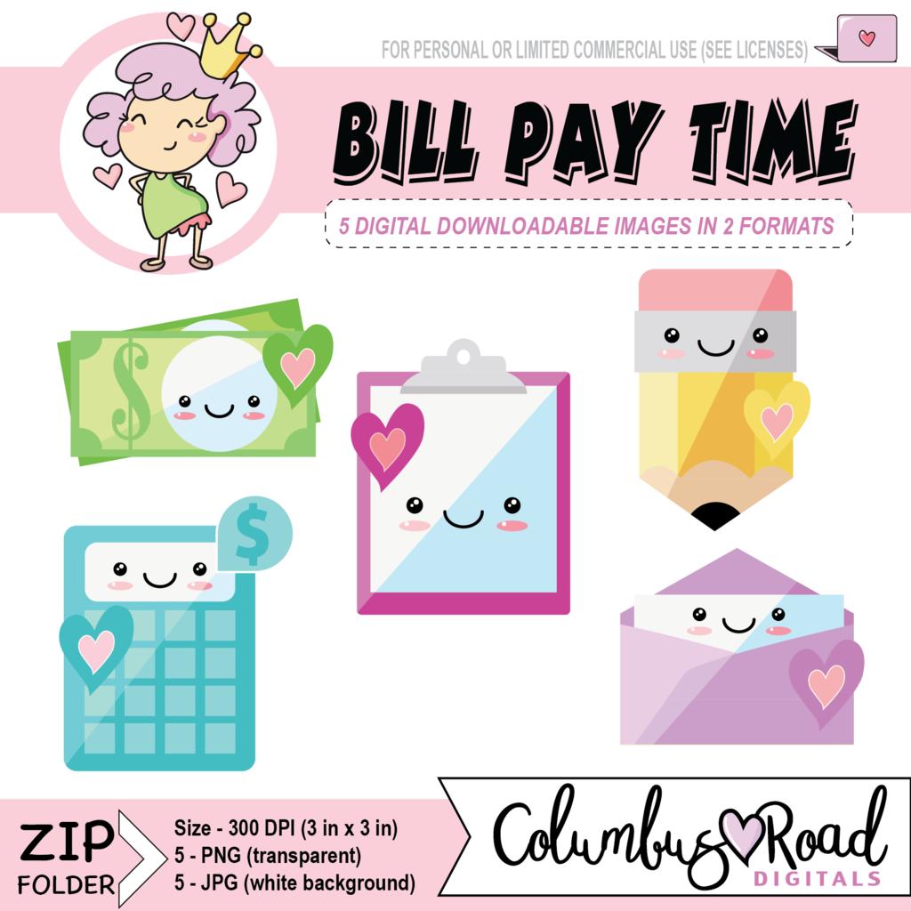 hight resolution of kawaii bill pay icons digital downloadable clipart kawaii calculator clipboard money bill pencil goodnotes art