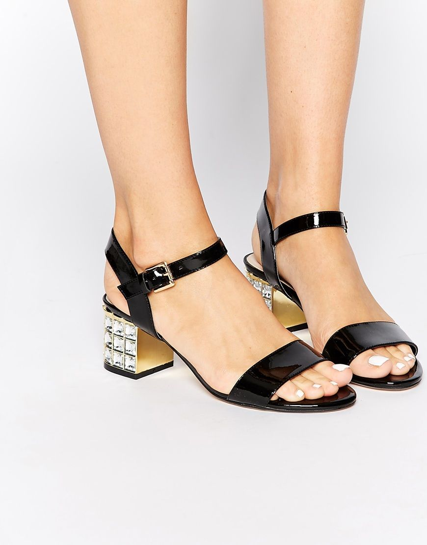 Buy Women Shoes / Dune Harah Black Patent Leather Embellished Mid Heel Sandals