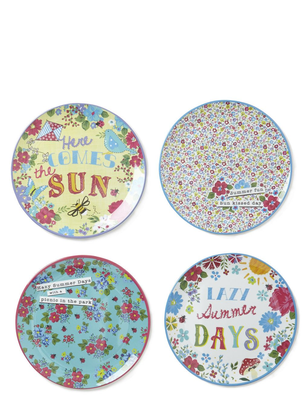 Set of 4 Vintage Text Round Side Picnic Plates - BHS  sc 1 st  Pinterest & Set of 4 Vintage Text Round Side Picnic Plates - BHS | Kitchens ...