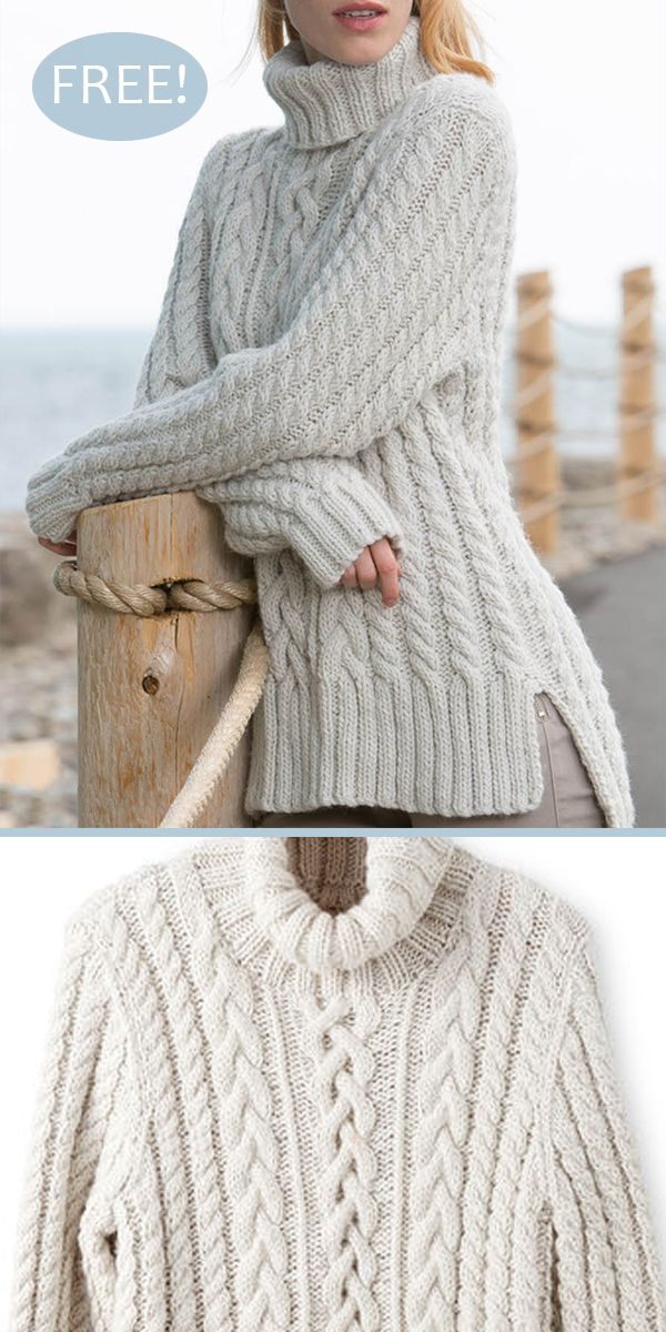 Free Knitting Pattern for Split Hem Cable Pullover - Long-sleeved tunic sweater with a variety of cables desribed in both written instructions and charts. Sizes XS/S, M, L, XL. Designed by Patons. Bulky weight yarn. #knittingpatternsfree