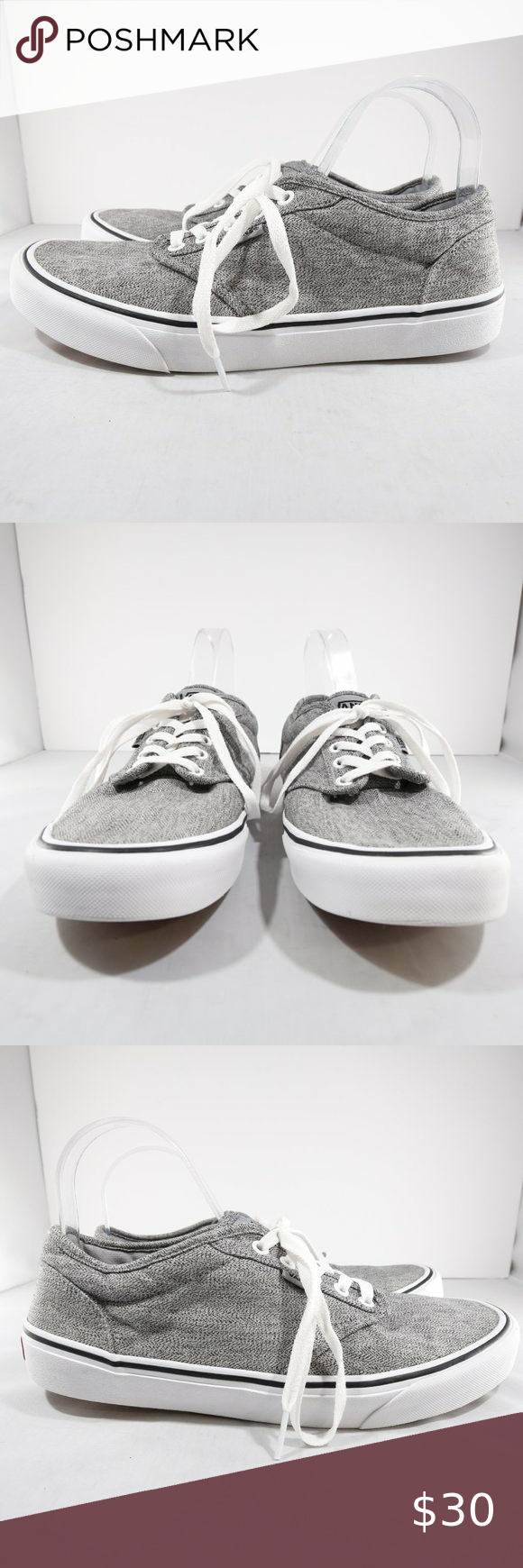 VANS Atwood Gray/White Lace-Up Sneakers - 10.5/44 | Sneakers, Lace ...