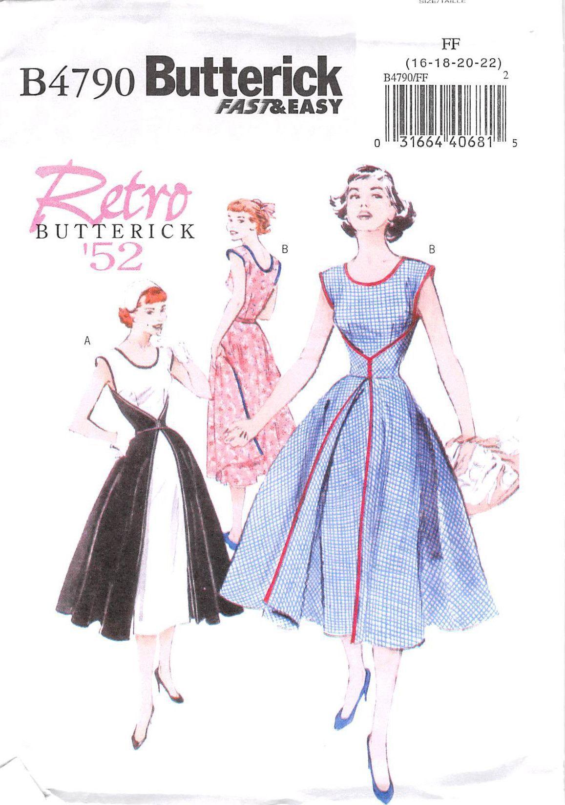 Butterick 4790 - uncut - misses wrap dress | Wrap dresses, Wraps and ...