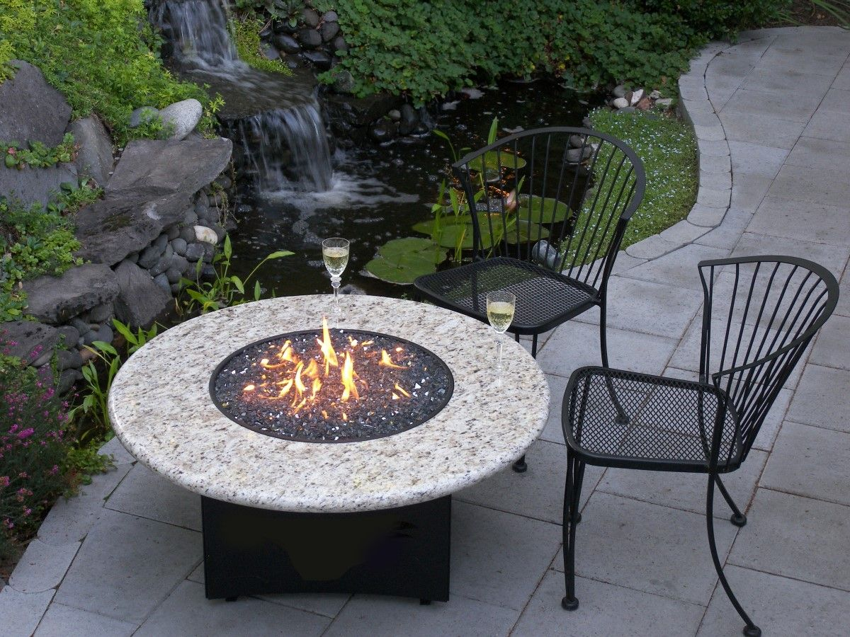 Large | Breathtaking Simple Outside Propane Fire Pits Design With Round  White Granite And Cool Fish