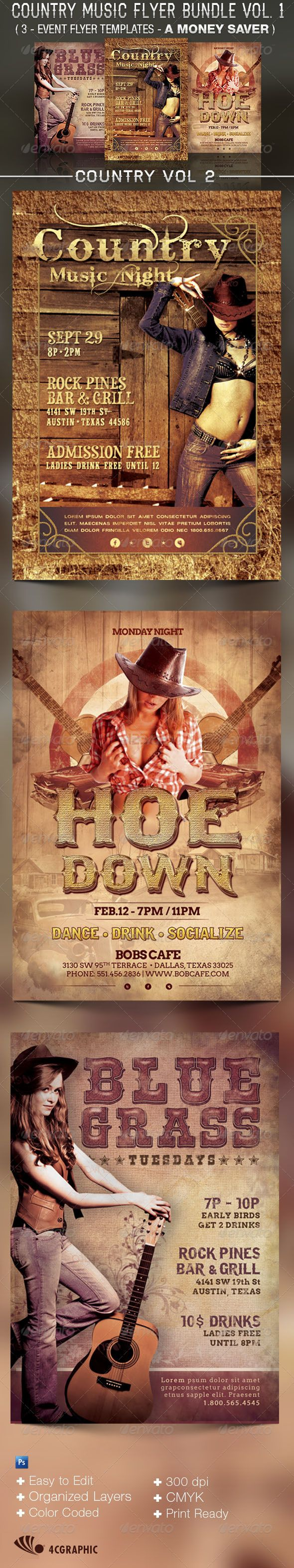 Country Music Flyer Templates Bundle Vol   Music Flyer Flyer