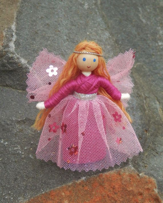 Pink Flower Fairy Doll Waldorf fairy Fairy by WildflowerToys