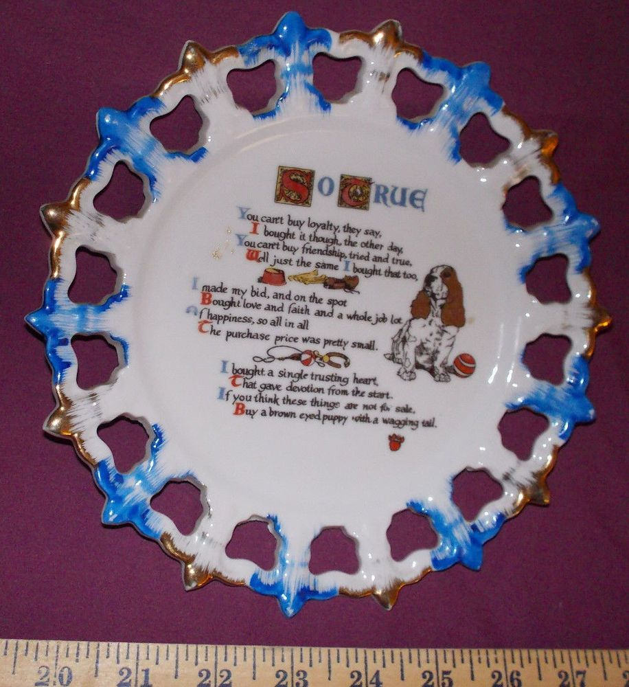 So True dog lover decorative pierced plate hanging china buy puppy blue gold