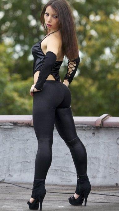 Ebony women in yoga pants