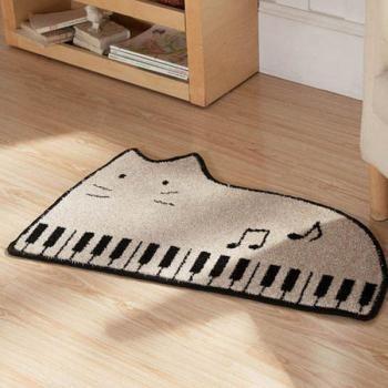 Cat Piano Cartoon Bathroom Door Mats Slip Resistant Feet Mats