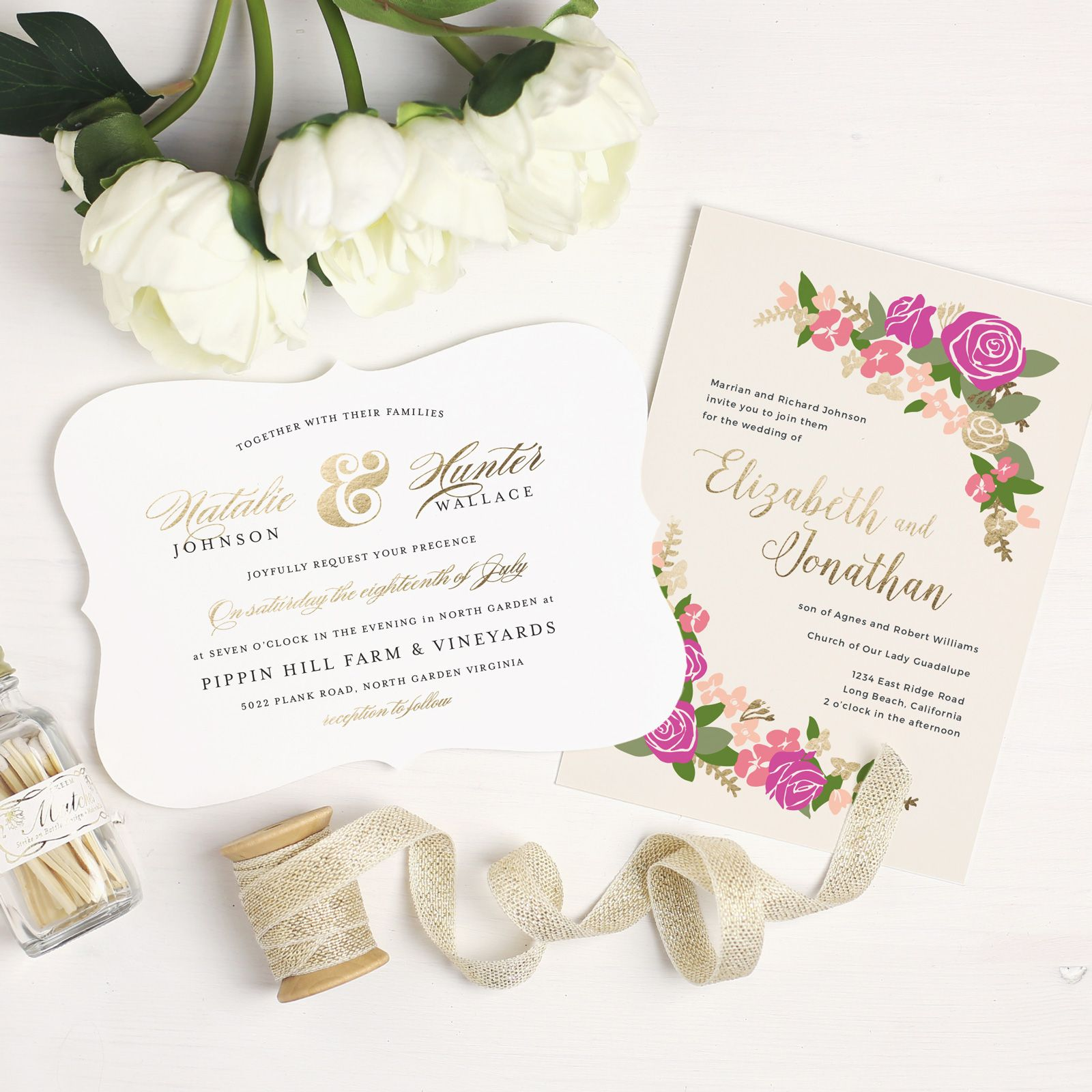Pretty Wedding Invitations for every season from Basic Invite | Fab Mood #invitations #goldfoil