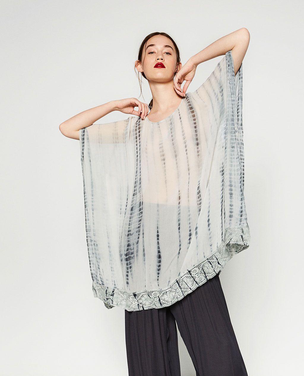 0f51c8069f TIE-DYE HAND EMBROIDERED PONCHO-DRESSES-WOMAN-SALE | ZARA United States