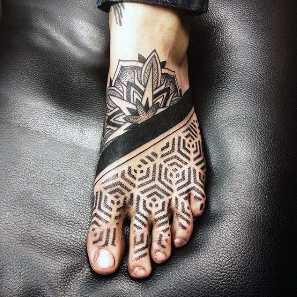Guy with hexagonal tattoo with dark strip on foot foot for Mens foot tattoos